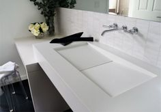 washbasin of Contemporary Bathroom with Natural Elements