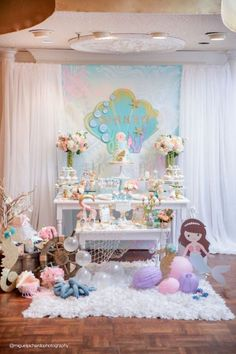 Mermaid party spread from a Pastel Mermaid Birthday Party via Kara's Party Ideas… Mermaid Theme Birthday, Little Mermaid Birthday, Little Mermaid Parties, Party Spread, Mermaid Baby Showers, Festa Party, Partys, Decoration Table, Baby Party