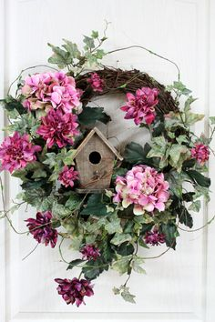 Elegant Country Wreath, Front Door Wreath, Rustic Birdhouse, Beautiful Pink Hydrangeas, Plum Dahlias, Great Country Decor -- FREE SHIPPING