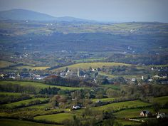 A view down to the town of Bailieborough and the surrounding hilly countryside of Co. Cavan, from the summit of Loughanleagh.