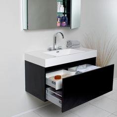 $1399 - Inclusive - Mater? Fresca Mezzo Black Bathroom Vanity with Medicine Cabinet