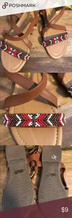 Chinese Laundry tan beaded strappy sandal Brand new never worn. Casual cute tan beaded sandal. Cute with shorts or a sundress. Chinese Laundry Shoes Sandals