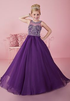 Illusion sweetheart neckline with beaded band, heavily beaded bodice, and gathered iridescent chiffon A-line skirt. Available in Purple, Blush and White. Pagent Dresses For Kids, Baby Pageant Dresses, Girls Fancy Dresses, Princess Flower Girl Dresses, Princess Dress Kids, Gowns For Girls, Princess Style, Pretty Dresses For Kids, Princesa Alice