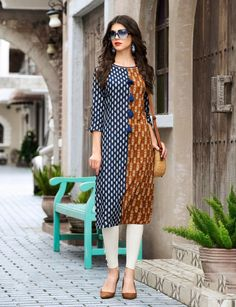 Order Cotton Printed Flared Designer Kurti Collection in bulk at lowest wholesale prices. We are well known Kurtis Dealer in Surat Kurti Neck Designs, Churidar Designs, Blouse Designs, Pakistani Dresses, Indian Dresses, Indian Outfits, Simple Dresses, Casual Dresses, Stylish Office Wear