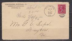 US APR 9 - 1895 Staunton envelope, # 220 - 2¢ Washington stamp
