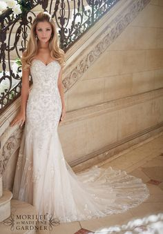 Wedding Dresses and Wedding Gowns by Morilee featuring Crystallized Allover Embroidery on Soft Tulle Colors Available: White/Silver, Ivory/Silver, Light Gold/Silver