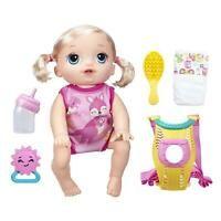 Baby Alive Baby Go Bye-Bye Doll - Blonde - Speaks English & Spanish Brand New! Festa Baby Alive, Muñeca Baby Alive, Baby Alive Dolls, Little Girl Toys, Baby Girl Toys, Toys For Girls, Kids Toys, Baby Doll Diaper Bag, Ri Happy