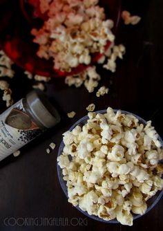 Homemade popcorn with turmeric and chili powder