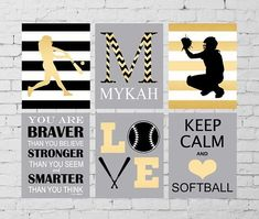 Softball wall art, softball room wall decor, softball batter, softball catcher, keep calm, LOVE wall art, inspirational softball art