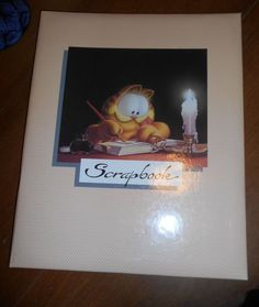 """Vintage Garfield Scrapbook 12"""" x 15"""" Padded Cover Sign-in Book"""