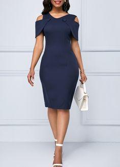 Women's M - 2 XL Navy Blue Cold Shoulder Lace Patchwork Sheath Dress w/Back Slit Women's Fashion Dresses, Sexy Dresses, Dresses For Sale, Dresses Online, Sheath Dresses, Fashion Clothes, Pretty Dresses For Women, Awesome Dresses, Trendy Dresses