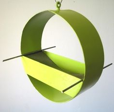 I love the mod designs of these bird feeders - tres cool! Charm Modern Bird Feeder in Key Lime by joepapendick on Etsy, $78.00