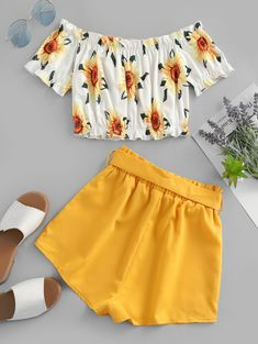 Cute Off Shoulder Sunflower two pieces outfit Take in plenty of sunshine with this sunflower two-piece set. The off-the-shoulder top with the sunflower print and the solid-color shorts edgy with the m Cute Casual Outfits, Cute Summer Outfits, Stylish Outfits, Shorts For Summer, Summer Shoes, Teen Fashion Outfits, Outfits For Teens, Girl Fashion, Style Fashion