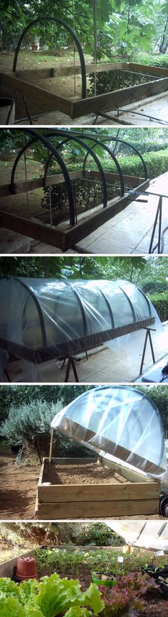 An easy way to make a tunnel top for raised bed, using scrap palette wood and old watering pipes.