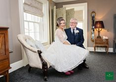 Debbie and her dad in the bridal suite just before the ceremony begins! 📸 by Heather Bryne Bridal Suite, Perfect Match, Real Weddings, Romantic, Bride, Retro, Wedding Dresses, Photography, House