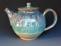 Teapot Ocean Green J by darshanpottery on Etsy, $95.00