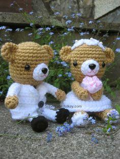 Amigurumi Crochet Wedding Bears, Wedding Doll £22.99