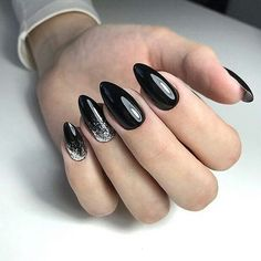 Many-colored manicure which do not suit every occasion. Then we pay attention to black nails. Theoretically, it is a typical fashion color, but if we allow ourselves to enrich it … Dark Acrylic Nails, Almond Acrylic Nails, Dark Nails, Matte Nails, Long Nails, Black Almond Nails, Short Almond Nails, Almond Shape Nails, Elegant Nails