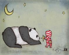 For some reason drawn to this...  A Wish for Panda and Boy Nursery Artwork by GumballGrenade on Etsy