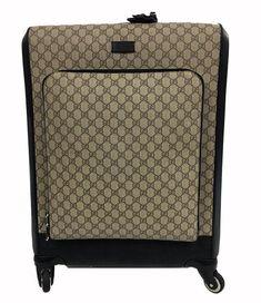 Gucci Supreme Canvas Diamante Black Leather Supreme Currier Weekend/Travel Bag