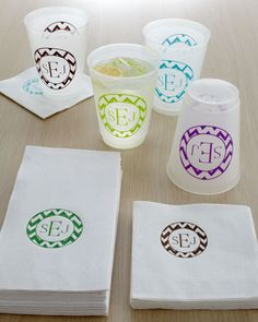 Personalized chevron napkins and cups - perfect for parties