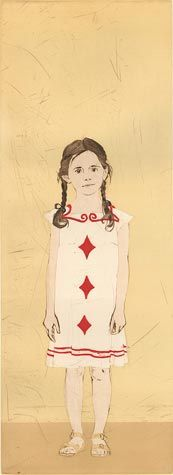Ellen Heck. Three of Diamonds, 2014. Drypoint and wood block. Edition 5. 24 x 8-3/4 inches. $600
