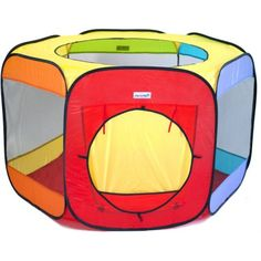 Jumbo Six Sided Hexagon Wonder Play Tent for Kids w/ Safety Meshing for Child Play Visibility: 6 Colors