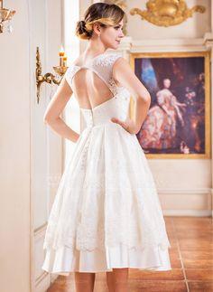 Forme Princesse Col rond Longueur mollet Satiné Tulle Dentelle Robe de mariée avec Emperler Fleur(s) Sequins (002047375) - JenJenHouse