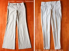 DIY Trousers to Riding Pants. These are fabulous and I can't wait to try this!