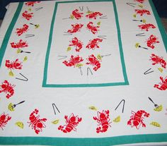 Vintage Tablecloth Lobsters and Lemons by CheekyVintageCloset, $44.00