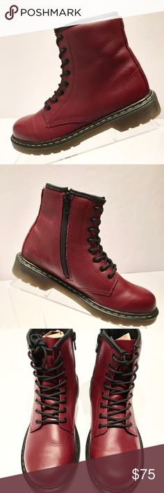 Dr Marten Youth Delaney Boot Size US 4 Red Dr. Marten Delaney Youth Size US4 Burgundy Red New without box ****loop tags on the back have been cut off--please see pics--never worn Smoke and Pet-Free Home Dr Marten Shoes Boots