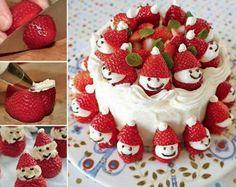 Strawberry Santa Cake food cake strawberries recipes christmas christmas recipes cakes christmas ideas christmas food christmas party favors