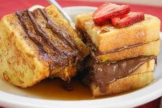 Nutella French Toast with Maple Syrup, Bananas, & Strawberries.well, leave out the bananas & strawberries, & I would help you eat those. Back To School Breakfast, Breakfast For Dinner, Breakfast Recipes, Breakfast Dishes, Breakfast Ideas, Breakfast Time, Nutella Breakfast, Birthday Breakfast, Breakfast Dessert