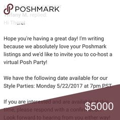🎉🎈🛍 HOSTING MY FIRST POSH PARTY 5/22/17 🎈🎉🛍 Extremely excited to Co-host my first Posh Party! Express Tops
