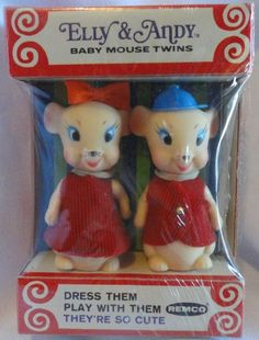 REMCO: 1967 Elly and Andy Baby Mouse Twins Mini Dolls