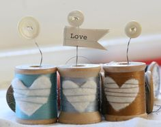 Hearts Wrapped with Thread on Spools Tutorial