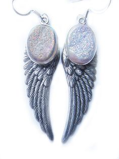 One of A Kind Pale Pink Titanium Druzy Angel Wing Earrings by BreatheCouture, $38.00