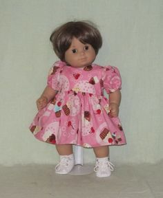 e9bf4734f0 15 inch Doll Dress fits the American Girl Bitty Baby Cup Cakes on Pink  Bitty Baby