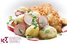 New potatoes with radish, spring onions and horseradish sauce