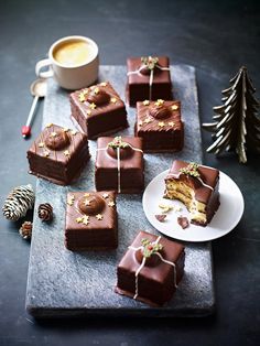Fondant Fancies, shot by Stuart West, Represented by Piccallo Xmas Food, Christmas Desserts, Christmas Food Photography, Holiday Recipes, Winter Recipes, Christmas Recipes, Food Themes, Food Ideas, Delicious Chocolate
