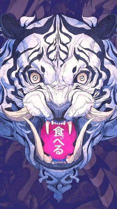 White Tiger, Digital Art, click image for HD Mobile and Desktop wallpaper – Art Ideas Japanese Artwork, Japanese Tattoo Art, Art And Illustration, Fantasy Kunst, Fantasy Art, Fu Dog, Tiger Art, Samurai Art, Japan Art