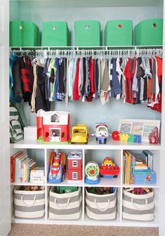 This organized toddler closet features storage for clothing, toys, books, diapers, and other items. Great ideas for organizing for a child's closet. room ideas bedrooms room design kids room ideas room ideas for girls kids rooms rooms Boy Toddler Bedroom, Baby Boy Rooms, Girls Bedroom, Toddler Boy Room Ideas, Big Boy Bedrooms, Little Boy Bedroom Ideas, Toddler Room Decor, Closet Ideas Kids, Diy Boy Room
