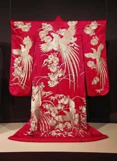 Red furisode embroidered with phoenixes and chrysanthemums, Japanese, 20th century, KSUM 1983.1.843.