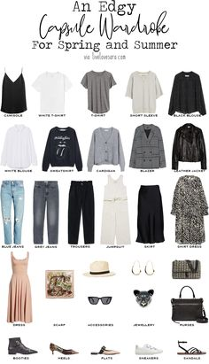 If you are interested in reading about finding your style that post can help you. If you already know it and than this how to build an edgy capsule wardrobe post might be for you. Capsule Outfits, Fashion Capsule, Capsule Wardrobe Summer, Capsule Wardrobe How To Build A, New Wardrobe, Basic Outfits, Edgy Outfits, Fashion Outfits, Princesa Punk