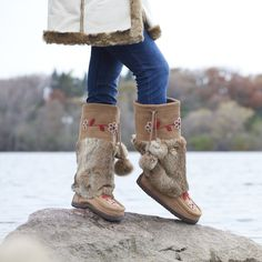 Discover ShopHQ's exciting selection of Manitobah Mukluks Fashion. Shop top names and find something for everyone at ShopHQ Leather Moccasins, Suede Leather, Kim & Co, French Dressing Jeans, Ron White, Versus Versace, Chilly Weather, Fur Boots, Rabbit Fur
