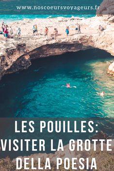 Cap vers le Sud. Choisissez de rejoindre dès le lever du soleil la Grotte della Poesia. Ce site naturel est connu dans le monde entier et pour cause, le site est magnifique et pris d'assaut durant la saison estivale #italie #pouilles #puglia #grottedellapoesia #roadtrip #vacances #voyage #blog #blogvoyage