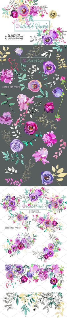 Create Stunning DIY Projects with these Gorgeous Mint and Purple Digital Flowers!!