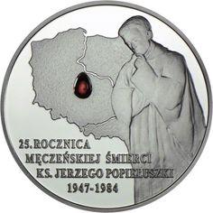 10 Zloty Silber 25. Todestag von Pater Jerzy Popieluszko PP