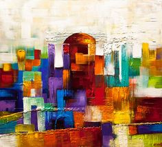 Contemporary Abstract Jerusalem Painting Colorful Modern Palette Knife Osnat #Abstract