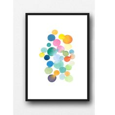 Bring your walls to life with a splash of colored dots. This is a print from the original painting. This painting will give your room an instant lift. This is a very easy painting to place in a home. Great in a bathroom or bedroom. Papersize: 16.5 x 11.7 inches----(A3 42,0 cm x 29,7 cm) 16 x 20 inches----------------(40 cm x 50 cm) 23.4 x 16.5 inches--(A2 59,4 cm x 42,0 cm) also available in a smaller size: https://www.etsy.com/listing/514799486/modern-watercolor-art...